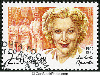 RUSSIA - 2001: shows Lubov P. Orlova (1902-1975), a flash from t
