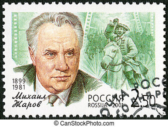 RUSSIA - 2001: shows Mikhail I. Zharov (1899-1981), a flash from