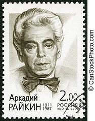 RUSSIA - 2001: shows portraits of Arkady Raikin(1911-1987),...