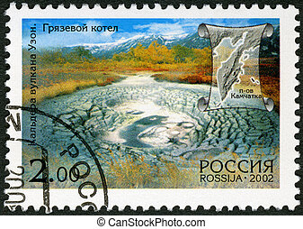 RUSSIA - 2002: shows Mud hole, Uzon, series Kamchatka Peninsula