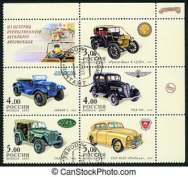 RUSSIA - 2003: dedicated the history of Russian motor-cars