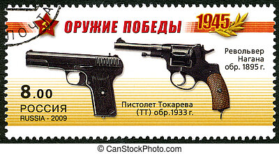 RUSSIA - 2009: shows Nagant M1895 Revolver, Pistolet...
