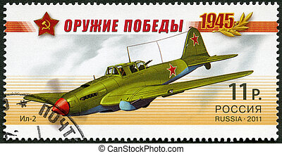 RUSSIA - 2011: shows attack plane IL-2, series Weapon of the Vic