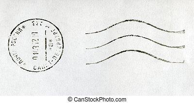 RUSSIA - CIRCA 2012: black postmark stamp, Russia, St. Petersburg, circa 2012