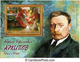 RUSSIA - 2012: shows Russian painter Abram Efimovich Arkhipov (1