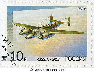 RUSSIA - 2013: shows Bomber Tu-2, for the 125th Birth Anniversar