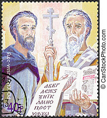 RUSSIA - 2013: shows The 1150th anniversary of the mission Saint