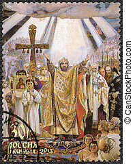 """RUSSIA - 2013: shows the painting """"The Baptism of Rus'"""" by Vasne"""