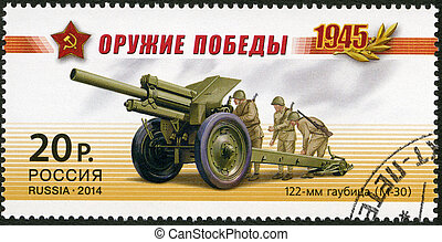 RUSSIA - 2014: shows 122 mm howitzer (M-30), series Weapon ...