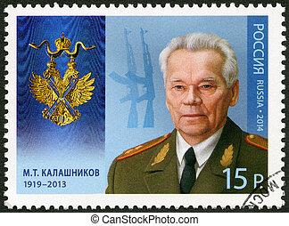 RUSSIA - 2014: shows M.T. Kalashnikov (1919-2013), series Holder