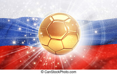 Russia 2018 - Gold soccer ball shining on the Russian flag....