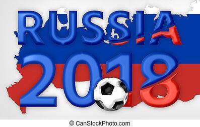 Russia 2018 red blue symbol 3d render