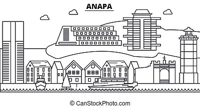 Russia, Anapa architecture line skyline illustration. Linear vector cityscape with famous landmarks, city sights, design icons. Landscape wtih editable strokes
