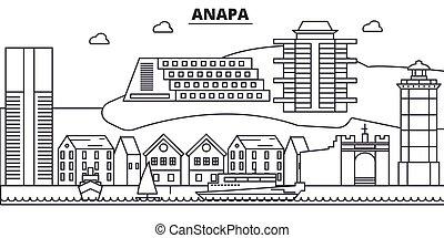 Russia, Anapa architecture line skyline illustration. Linear...