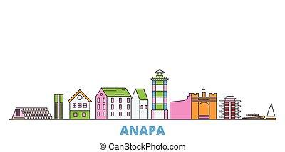 Russia, Anapa line cityscape, flat vector. Travel city ...