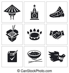 Russia and China Vector Icons Set