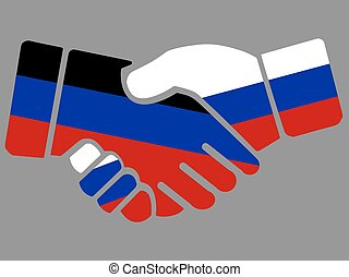 Russia and Donetsk Peoples Republic flags Handshake vector illustration Eps 10