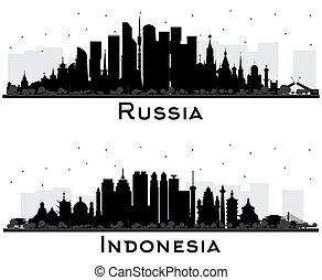 Russia and Indonesia City Skyline Silhouettes with Black Buildings Isolated on White. Tourism Concept with Historic Architecture. Cityscapes with Landmarks. Moscow. Saint Petersburg. Yekaterinburg. Jakarta. Surabaya. Bekasi. Bandung.