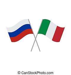 Russia and Italy flags vector illustration isolated on white background