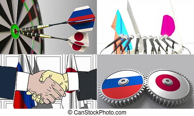 Russia and Japan cooperation. Conceptual animation montage -...