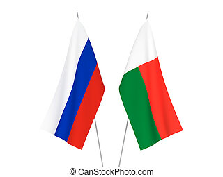 Russia and Madagascar flags - National fabric flags of ...
