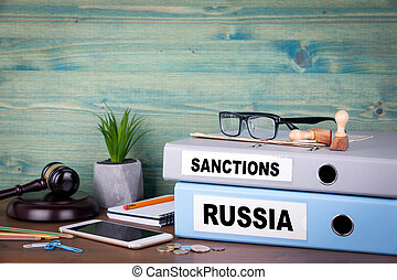 Russia and sanctions concept. Politics and business relations