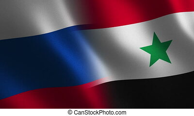 Russia and Syria flag waving 3d. Abstract background. Loop...