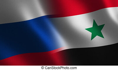 Russia and Syria flag waving 3d. Transition. Alpha channel....