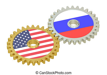 Russia and United States relations concept, flags on a gears. 3D rendering