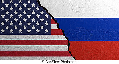 Russia and USA flag, plastered wall background. 3d illustration