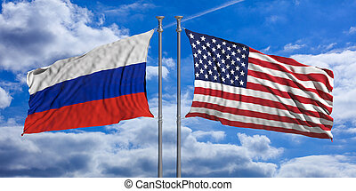 Russia and USA flags on blue sky background. 3d illustration