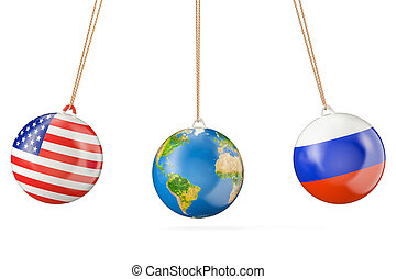 Russia and USA political confrontation concept. 3D rendering