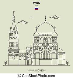 russia., assunzione, punto di riferimento, cattedrale, icona, omsk