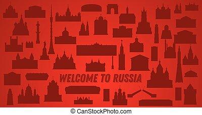 russia., bienvenida, illustration., vector