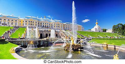 russia., cascada, saint-petersburg, pertergof, magnífico