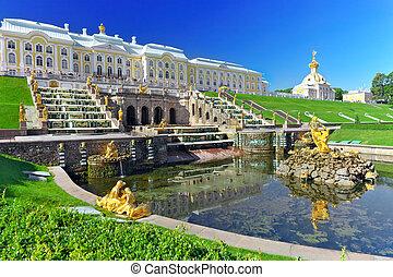 russia., cascata, saint-petersburg, pertergof, grandioso