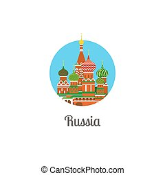 Russia cathedral landmark isolated round icon. Vector...