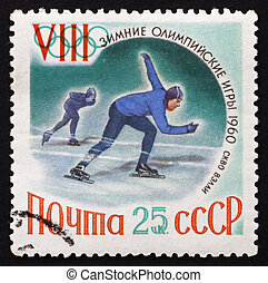 RUSSIA - CIRCA 1960: a stamp printed in the Russia shows Speed Skating, Winter Olympic sports, Squaw Valley 60, circa 1960
