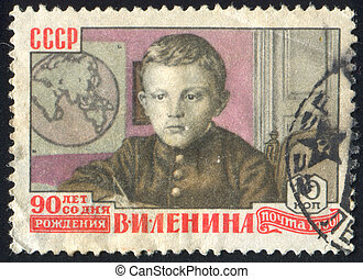 Lenin as Child - RUSSIA - CIRCA 1960: stamp printed by ...
