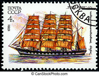 Russia - Circa 1981: Postage stamp printed in CCCP shows the cadet training ship Tovarisch. circa 1981