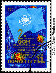 RUSSIA - CIRCA 1982: stamp printed by Russia, shows Outer Space, UN flag, circa 1982