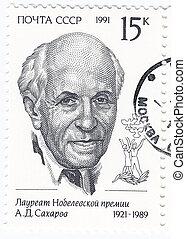RUSSIA - CIRCA 1991 :Andrei Dmitrievich Sakharov - Russian...