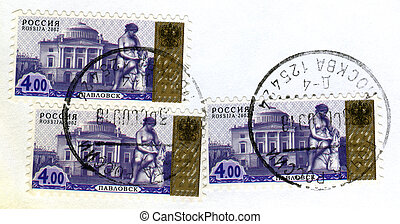 "RUSSIA - CIRCA 2002: A stamp printed in Russia shows sculpture ""Erminia"", Grand Palace, Pavlovsk, with Moscow postmark, series, circa 2002"