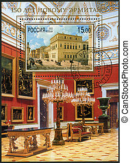 RUSSIA - CIRCA 2002: A stamp printed in Russia dedicated the 150th anniversary of the New Hermitage, circa 2002