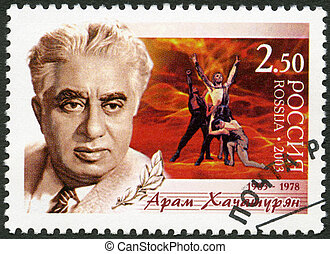 """RUSSIA - CIRCA 2003: A stamp printed in Russia shows Birth Centenary of Aram I. Khachaturyan (1903-1978), composer, scene from the ballet """"Spartacus"""", circa 2003"""