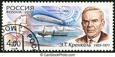RUSSIA - CIRCA 2003: A stamp printed in Russia dedicated the 100th birth anniversary of E.T.Krenkel, a polar explorer, circa 2003