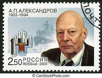 RUSSIA - CIRCA 2003: A stamp printed in Russia dedicated the 100th birth anniversary of A.P.Alexandrov (1903-1994), a scientist, circa 2003