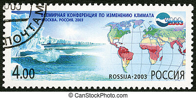 RUSSIA - CIRCA 2003: A stamp printed in Russia dedicated the world conference on climate fluctuation, circa 2003