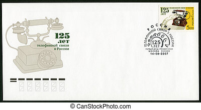 RUSSIA - CIRCA 2007: A stamp printed in Russia shows the 125th anniversary of the telephone communication, circa 2007