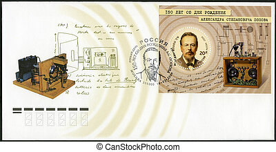 RUSSIA - CIRCA 2009: A stamp printed in Russia shows 150th Anniversary of the Birth of A.S. Popov (1859-1906), physicist, electrical engineer and inventor of radio, circa 2009